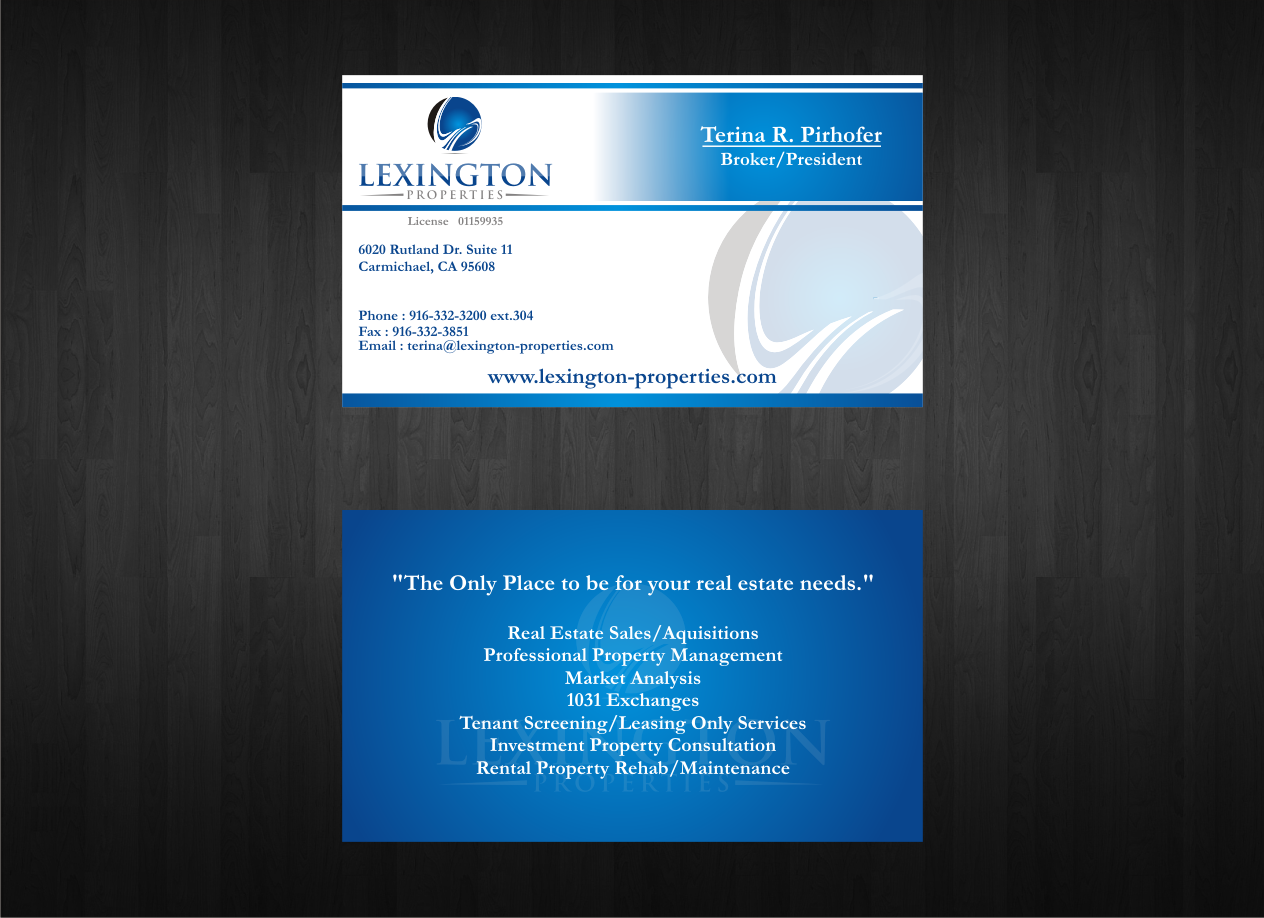 Check out this design for Lexington Properties New Business Card ...